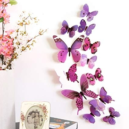 Popular Diy 3D Wall Art Butterflies Pertaining To Amazon: Amaonm 24 Pcs 3D Pvc Colorful Butterfly Wall Decals (View 11 of 15)