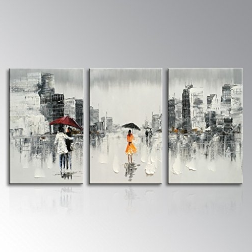 Popular Everfun Art Abstract Artwork Hand Painted Modern People Cityscape With Abstract Office Wall Art (View 11 of 15)