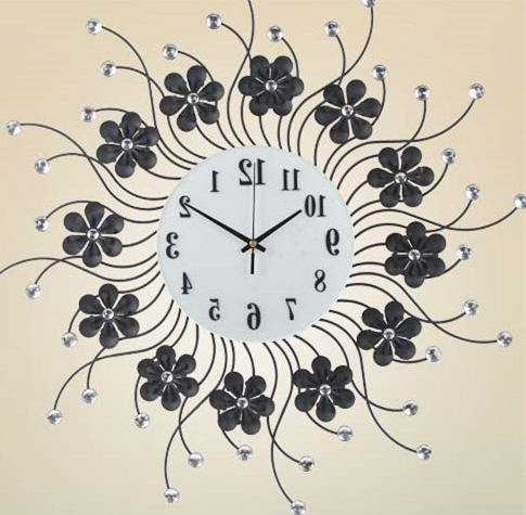 Popular Fashion Creative Living Room Wall Clock, The Bedroom, Wrought Iron Within Art Deco Wall Clocks (View 11 of 15)