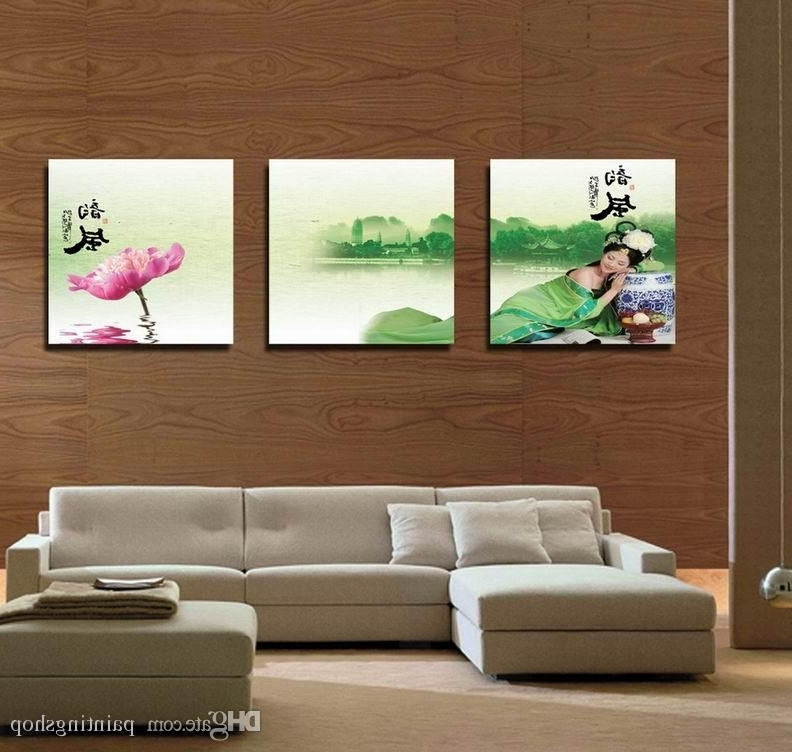Popular Feng Shui Wall Art In Discount Modern Feng Shui Wall Art Water Lily Landscape Painting Hd (View 10 of 15)