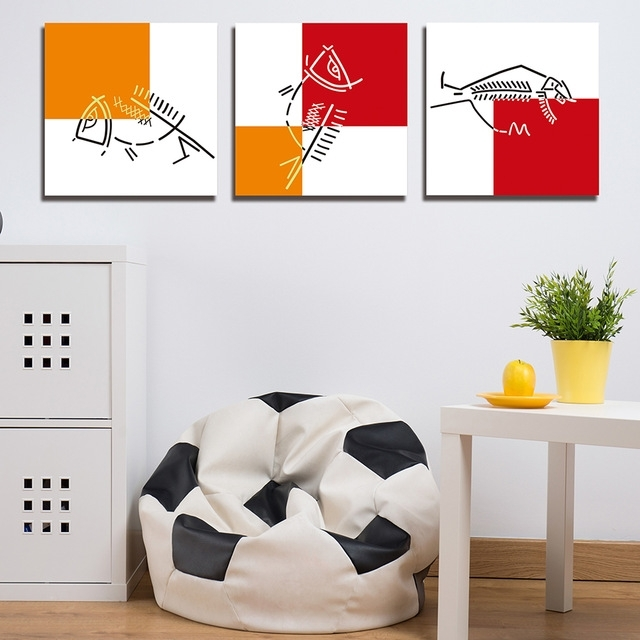Popular Fish Bone Wall Art Intended For 3 Panels Paintings For Simple Fish Bones Wall Decor Modern Canvas (View 12 of 15)