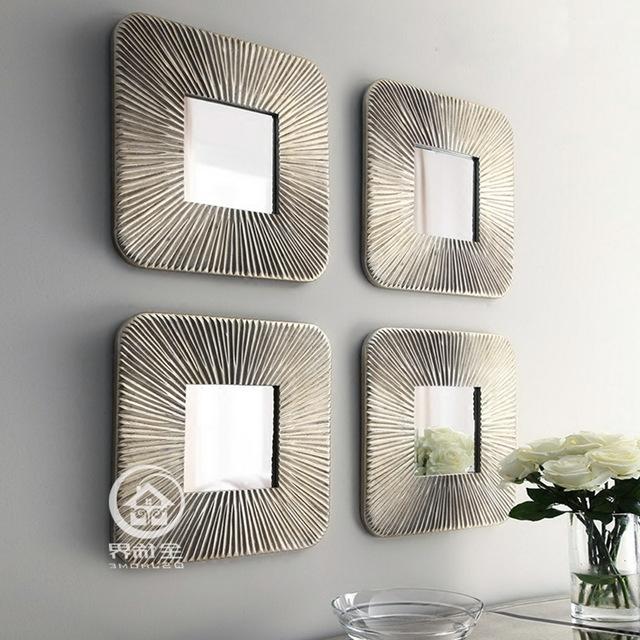 Popular Fretwork Wall Art Throughout Mirrored Wall Decor Fretwork Square Wall Mirror Framed Wall Art Set (View 7 of 15)