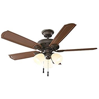 "Popular Hampton Bay Tucson 48"" Indoor/outdoor Ceiling Fan With Lights Kit Intended For 48 Outdoor Ceiling Fans With Light Kit (View 13 of 15)"