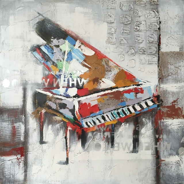 Popular Hand Painted Abstract Piano Wall Decor Artwork I – Contemporary With Regard To Abstract Piano Wall Art (View 12 of 15)