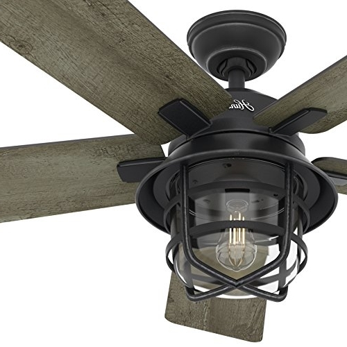 Popular Hunter Fan 54″ Weathered Zinc Outdoor Ceiling Fan With A Clear Glass With Regard To Outdoor Ceiling Fans With Led Lights (View 10 of 15)