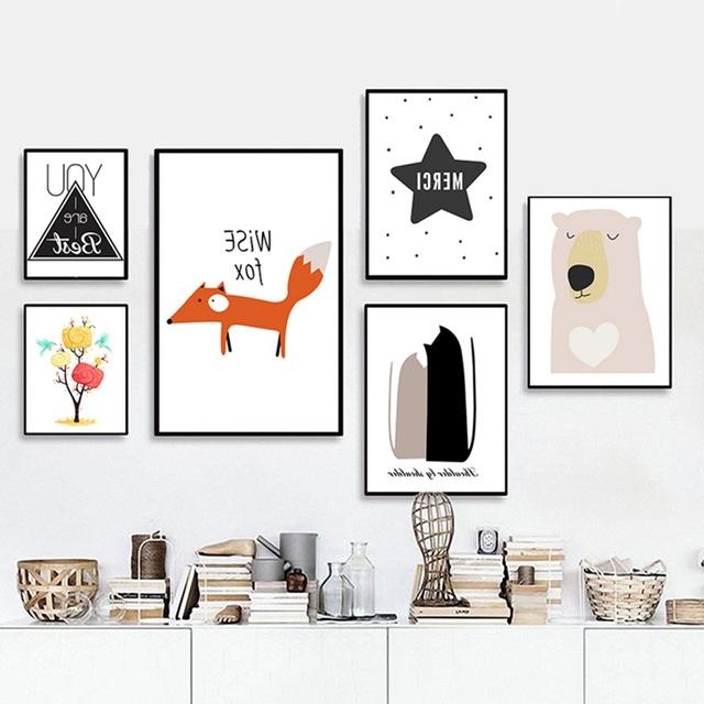 Popular Kids Canvas Wall Art Pertaining To Sure Life Cartoon Sweet Nursery Canvas Paintings Pop Art Fox Bear (View 10 of 15)