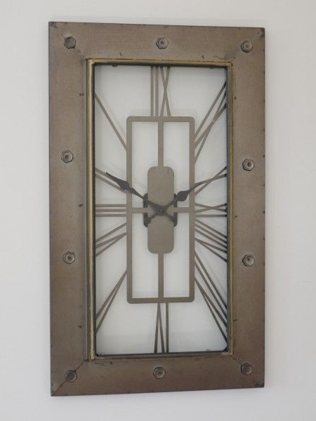 Popular Large Art Deco Wall Clocks Pertaining To Large Wall Clock Art Deco Style Looking Glass Fronted Clock (View 10 of 15)