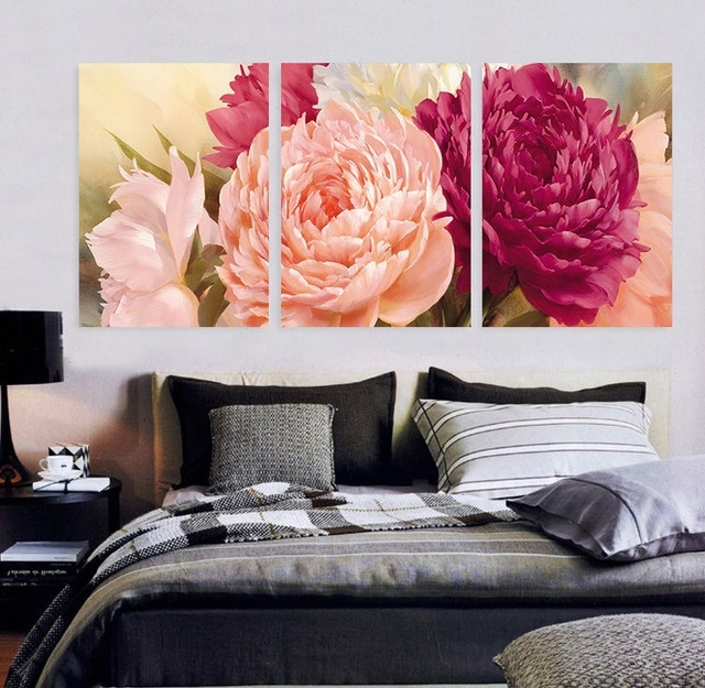 Popular Large Canvas Wall Art Flower Cluster Decorative Picture Painting Intended For Abstract Floral Canvas Wall Art (View 8 of 15)