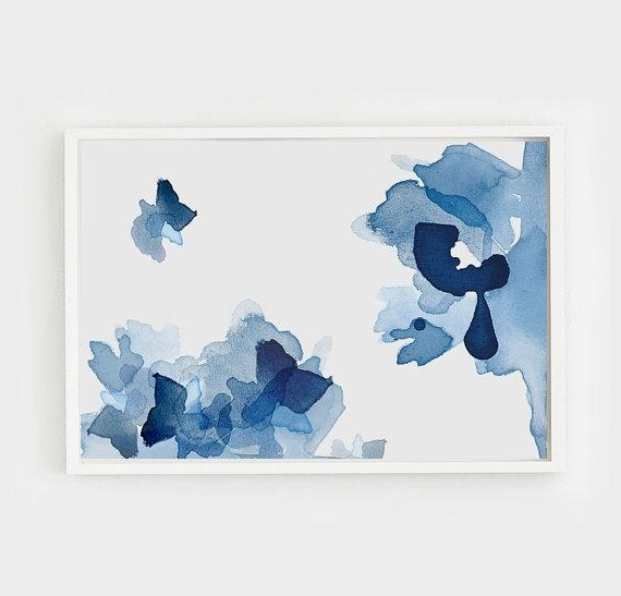 Popular Large Framed Abstract Wall Art intended for Layered Blue Tones Large Abstract Wall Art