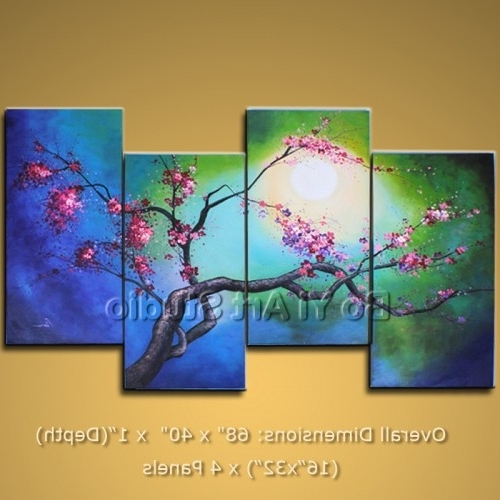 Popular Large Framed Oil Painting Blossom Tree Wall Art Abstract Modern Intended For Cherry Blossom Oil Painting Modern Abstract Wall Art (View 11 of 15)