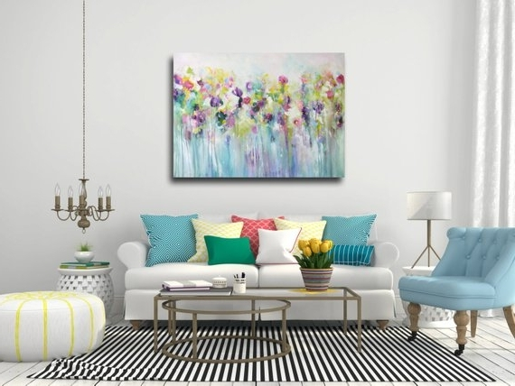 Popular Large Wall Art Canvas Art Abstract Floral Canvas Print (View 14 of 15)