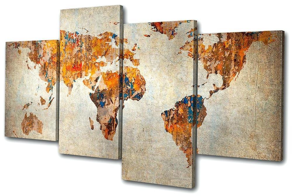 Popular Large World Map Wall Art World Map Wall Art Framed World Map Atlas Regarding Framed World Map Wall Art (View 10 of 15)