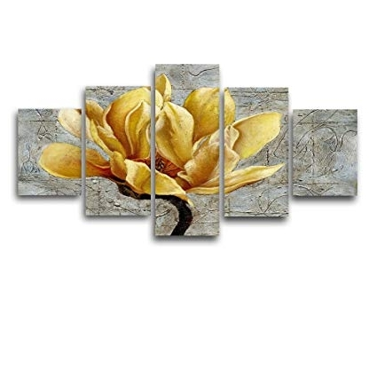 Popular Large Yellow Wall Art For Amazon: Viivei Yellow And Grey Flower Wall Art Abstract Oil (View 12 of 15)
