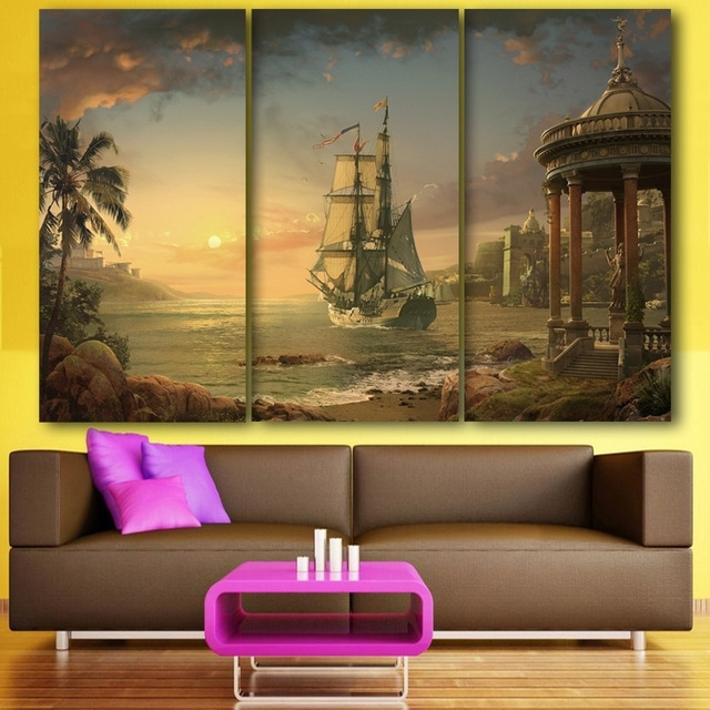 Popular Limited Edition Wall Art Pertaining To 3 Pieces/set Limited Edition Sailing Vintage Ship Painting Picture (View 6 of 15)