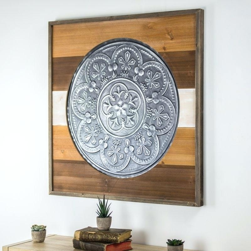 Popular Metal Framed Wall Art Framed Metal Medallion On Wood Wall Hobby With Regard To Metal Framed Wall Art (View 9 of 15)