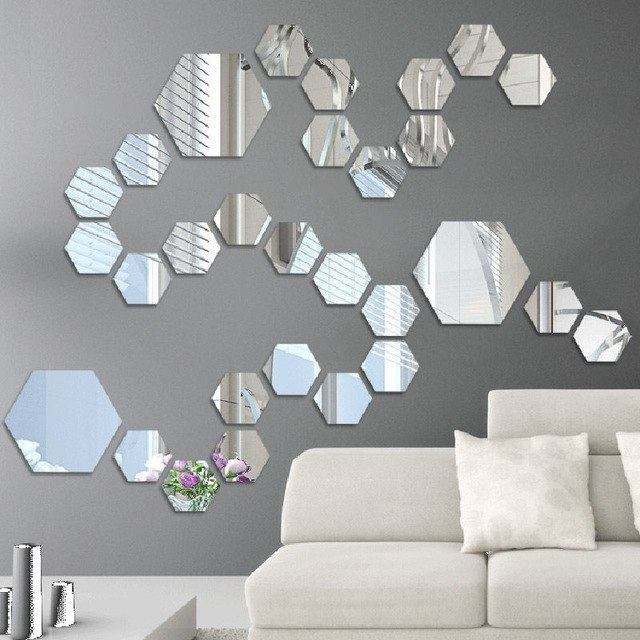 Popular Modern Mirror Wall Art Throughout 12Pcs/lot Diy Art Hexagon Wall Mirror Stickers Self Adhesive Acrylic (View 4 of 15)