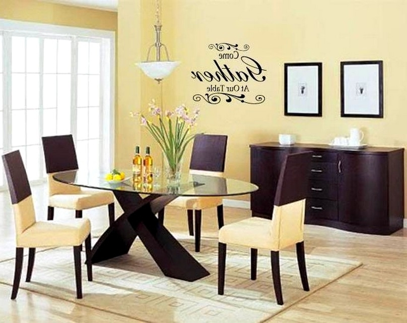 Popular Modern Wall Art Quotes For Dining Room With Oval Glass Table And 4 Intended For Modern Wall Art For Dining Room (View 13 of 15)