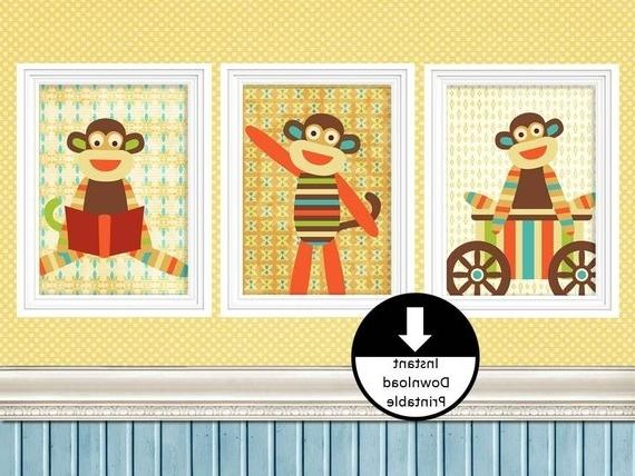 Popular Nursery Children Wall Art Sock Monkey Wall Decor Home (View 7 of 15)