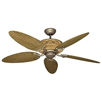 "Popular Outdoor Ceiling Fans With Bamboo Blades Inside Tiki Tropical Ceiling Fan With 52"" Outdoor Bamboo Style Blades In (View 1 of 15)"