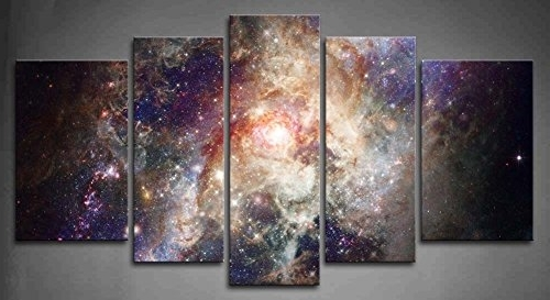Popular Outer Space Wall Art Intended For Amazon: 5 Panel Wall Art Star Field In Space And A Nebulae (View 3 of 15)