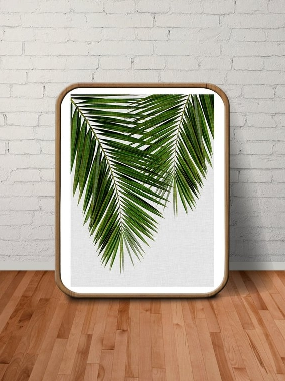 Popular Palm Leaves Palm Print Wall Art Tropical Decor Beach, White Leaf Pertaining To Palm Leaf Wall Art (View 12 of 15)