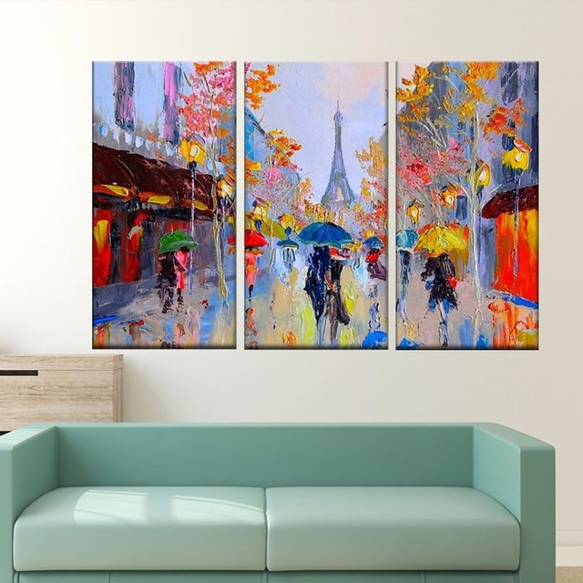 Popular Paris Street Scene Oil Painting Colorful Europe Streetscapes Hand For Street Scene Wall Art (View 6 of 15)
