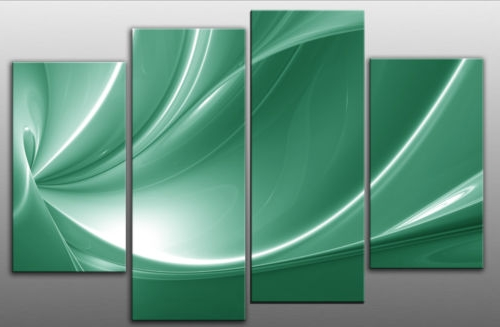 Popular Peace In Green Beautiful Large Canvas Abstract 4 Panel Wall Art With Regard To Large Green Wall Art (View 7 of 15)