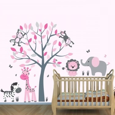 Popular Pink And Grey Wall Art Intended For Gray & Orange Wall Decals Jungle With Elephant Wall Art For Boys Rooms (View 10 of 15)