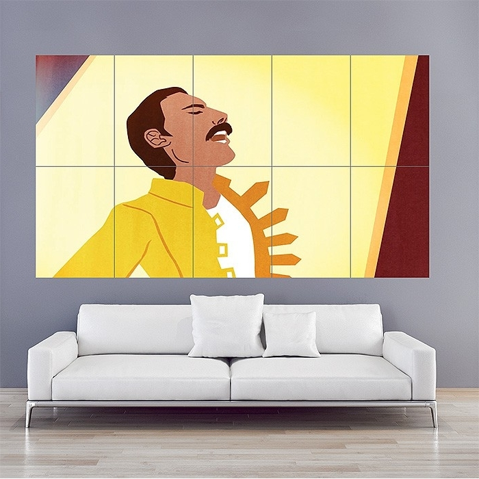 Popular Queen Freddie Mercury Block Giant Wall Art Poster Throughout Freddie Mercury Wall Art (View 7 of 15)