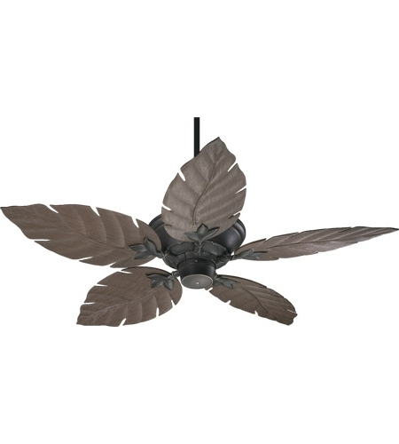 Popular Quorum 135525 95 Monaco Old World With Walnut Blades Outdoor Ceiling Fan Inside Leaf Blades Outdoor Ceiling Fans (View 12 of 15)