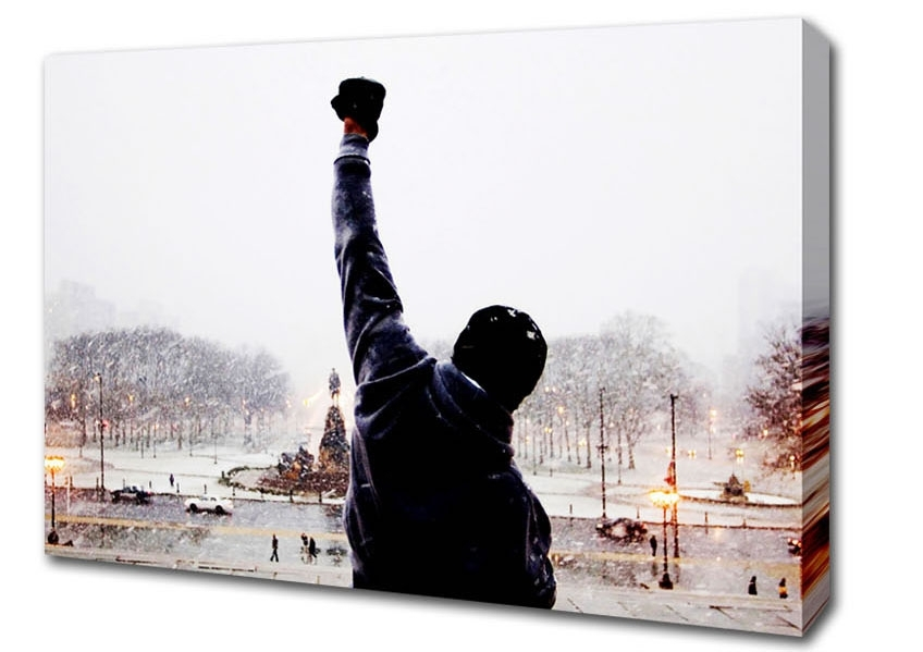 Popular Rocky Balboa On The Steps People Canvas Stretched Canvas With Rocky Balboa Wall Art (View 7 of 15)