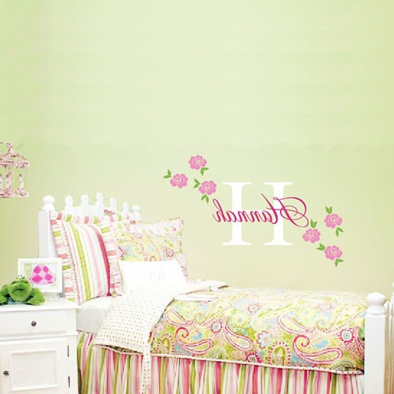 Popular Rose Decal Custom Name Wall Sticker Girl Nursery Children Bedroom Throughout Wall Art Stickers For Childrens Rooms (View 9 of 15)