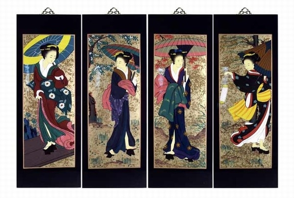 Popular Set Of 4 Oriental Lacquered Painting Wall Art Plaques (Japanese Within Japanese Wall Art Panels (View 12 of 15)