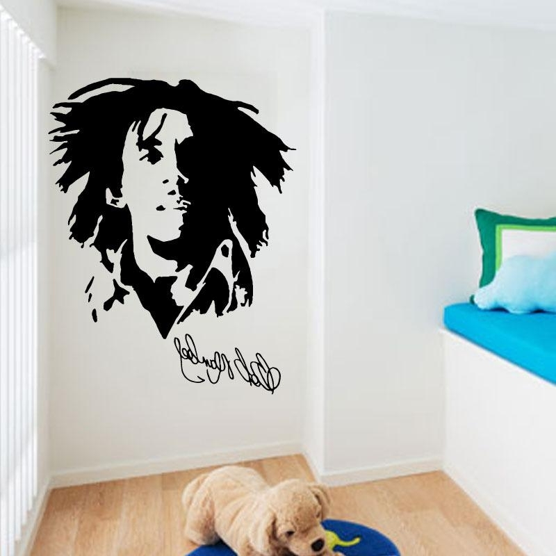 Popular Singer Bob Marley Wall Stickers Home Decor Removable Pvc In Famous Bob Marley Wall Art (View 6 of 15)