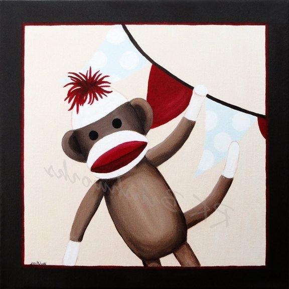 Popular Sock Monkey Nursery Art, Kids Wall Art, Childrens Art Print Inside Sock Monkey Wall Art (View 8 of 15)