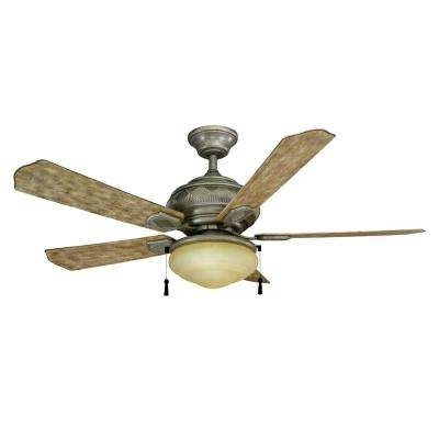 Popular Stainless Steel Outdoor Ceiling Fans With Light With Regard To Stainless Steel – Ceiling Fans – Lighting – The Home Depot (View 7 of 15)