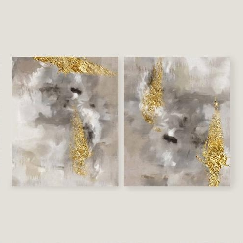 Popular Touch Of Gold I And Ii Gray And Gold Wall Art Pertaining To Black And Gold Abstract Wall Art (View 4 of 15)