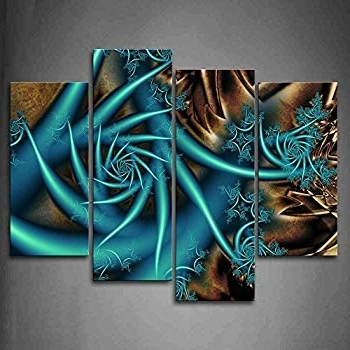 Popular Turquoise And Brown Wall Art Pertaining To Amazon: First Wall Art – Fractal Blue Spiral Brown Wall Art (View 12 of 15)
