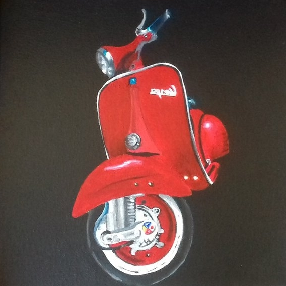 Popular Vespa 3D Wall Art Intended For Realistic Painting Vespa / Wall Decoration / Art / Vintage (View 9 of 15)