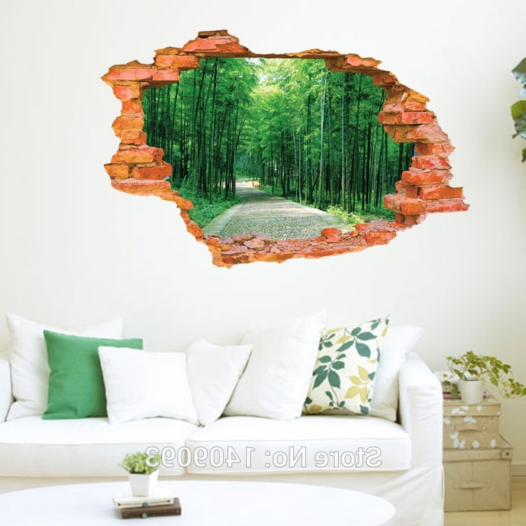 Popular Vinyl 3D Wall Art Throughout 2016 Large Wall Sticker Tree Forest Landscape 3D Brick Decals Living (View 3 of 15)