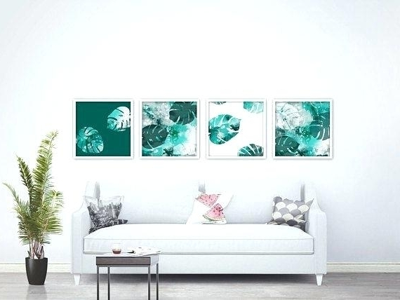Popular Wall Art Print Sets Inside Decoration: Botanical Leaf Print Wall Art Of 4 Prints Sets (View 10 of 15)