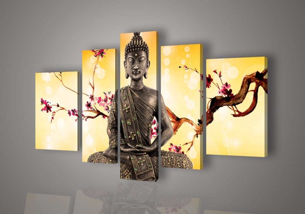 Popular Yellow Wall Art For Cheap Five Panels Religion Buddha Flowers Branch Inside Large Yellow Wall Art (View 8 of 15)