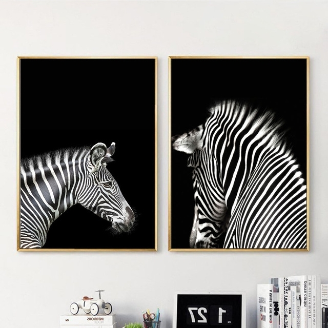 Popular Zebra Wall Art Canvas Pertaining To Black White Animal Zebra Wall Art Canvas Posters And Prints (View 2 of 15)