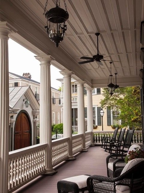Porch Pillars Porch Victorian With Black Wicker Furniture Ceiling With Newest Victorian Outdoor Ceiling Fans (View 8 of 15)