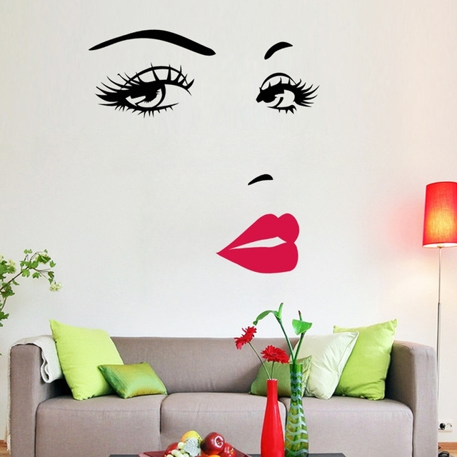 Portrait Sexy Beauty Girl Lip Eye 3D Wall Sticker Decorative Vinyl In Well Known Decorative 3D Wall Art Stickers (View 14 of 15)