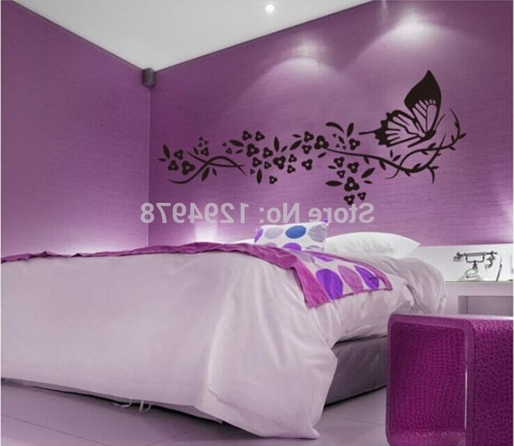 Preferred 118*72Cm Black Butterfly&flower Living Room Vinyl Wall Art Decals Inside Vinyl 3D Wall Art (View 8 of 15)