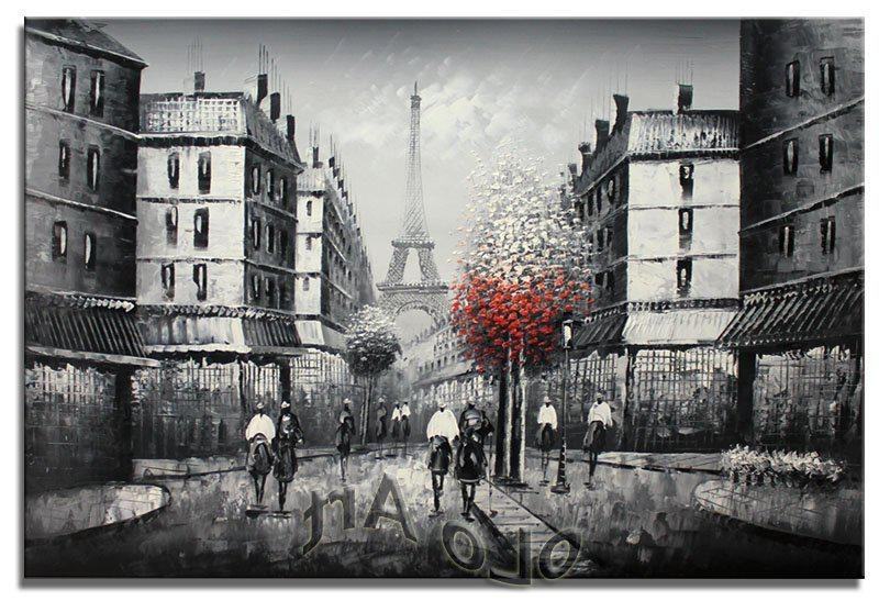 Preferred 2018 Paris Eiffel Tower Black & White Oil Painting Art On Canvas Within Black And White Paris Wall Art (View 3 of 15)