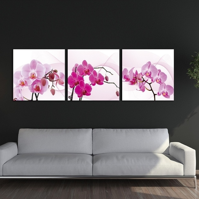 Preferred 3 Panels Unframed Canvas Photo Prints Plum Wall Art Picture Canvas With Plum Wall Art (View 3 of 15)