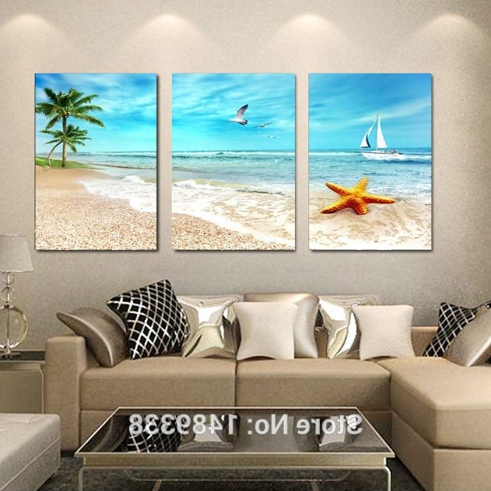 Preferred 3 Piece Beach Wall Art With 3 Panel Large Beach Canvas Seascapes Palm Tree Paintings 3 Piece (View 6 of 15)