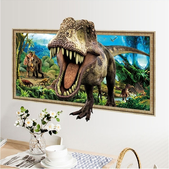 Preferred 3D Dinosaur Wall Art Decor Inside 3D Simulation Photo Frame Dinosaur Wall Stickers For Kids Rooms Home (View 14 of 15)